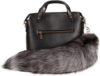 Silver Blue Fox Tail Fur Keychain Bag Charm Pendant