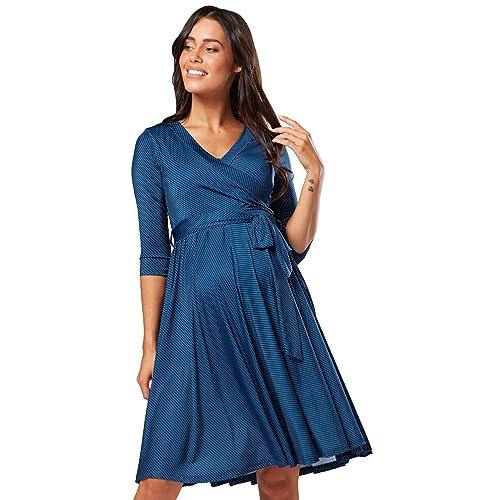 f586cc7644fe3 Women's Maternity Nursing Midi Dress Double Layer 3/4 Sleeve 609p