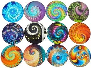 JJG 100 PCS Mixed Colors Vortex Glass Dome Cabochons Half Round Flatback, 10mm Diameter, Random Color