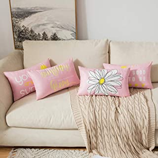 MIULEE Pack of 4 Decorative Cute Throw Pillow Covers Cheery Quote Words Bird Sunshine Flower Cushion Case Sham Pillowcases...