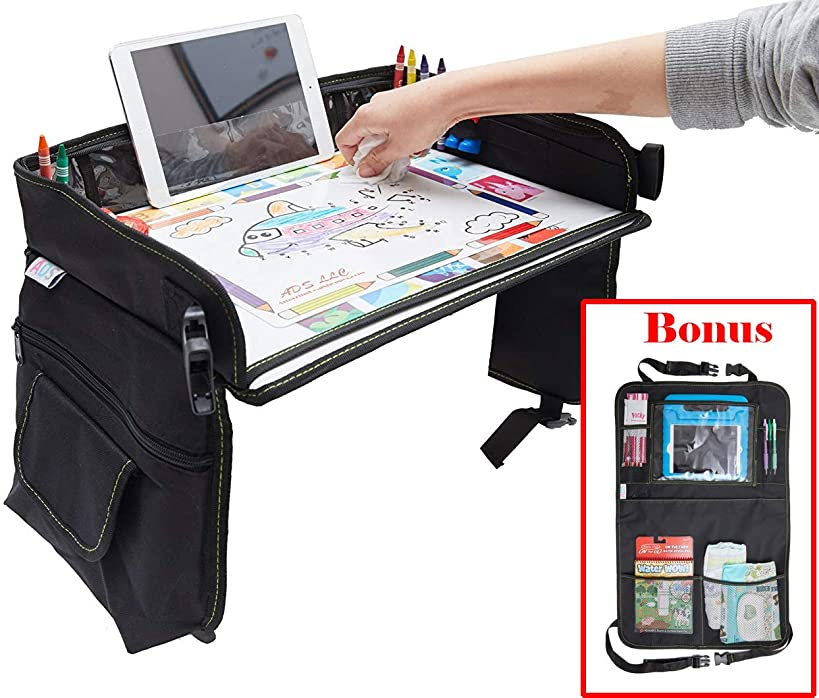 Kids Travel Tray Bag with Erasable Surface & Tablet Holder/Children Play Tray + Car Backseat Organizer + Gift 6 Crayons & Drawing Activities (Travel Tray + Backseat Organizer)
