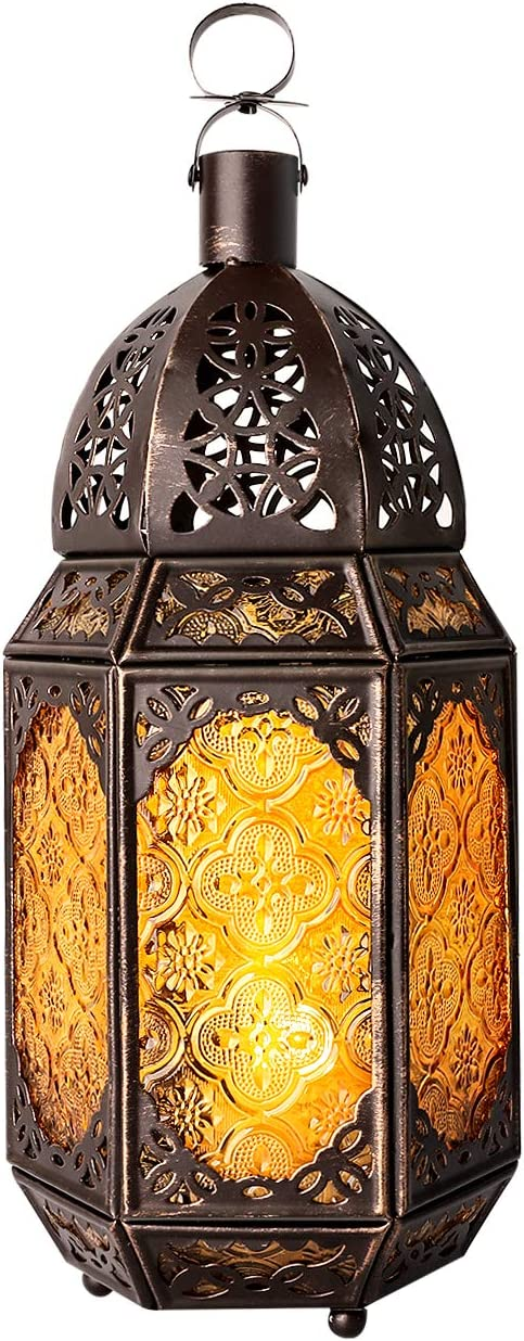 Lewondr Metal Lowest price challenge Glass Long Beach Mall Candle Lantern Moroccan Style Portable Cand