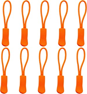 Yzsfirm 10 Pcs Extension Zipper,Orange Durable Zipper Pulls Strong Nylon Cord Rubber Textured No-Slip Pull Rope Fit Any Zipper