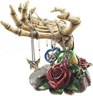 Gothic Valentine Rose Skeletal Hands Skeleton Grasp of The Dead Jewelry Holder Figurine Holds Many Rings Necklaces and Other Accessories