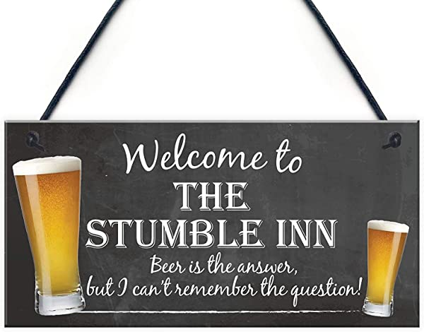 NWXO Wood Sign 5x10 Inches Welcome To The Stumble Inn Novelty Hanging Plaque Pub Bar Gift Funny Landlord Sign