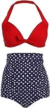 COCOSHIP Retro 50s Black Pink Blue Floral Halter High Waist Bikini Set Halter Carnival Swimsuit(FBA)