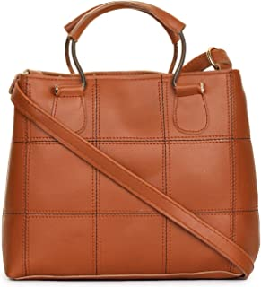 GLOSSY Women's PU Sling Bag with Handle and Crossbody Strap (Tan)
