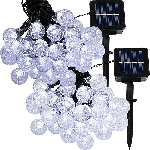 Sunnydaze 20-Foot Outdoor Hanging Solar Globe String Lights LED 30-Count, Set of 2, White