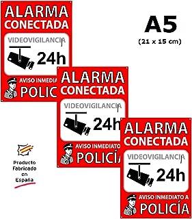 Tu Alarma SIN Cuotas | Pack de 3 Carteles Alarma Conectada | Placas disuasorias A5 Interior/Exterior PCV Flexibles | Lote de 3 Carteles Aviso a la Policía | Zona Vigilada