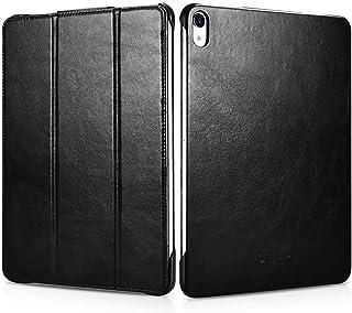 iCarer iPad Pro 11 بوصة 2018 / iPad Air 4 11 بوصة 2020 حافظة من الجلد الأصلي القديم ثلاثي الطي مع حامل قابل للطي / غطاء جر...