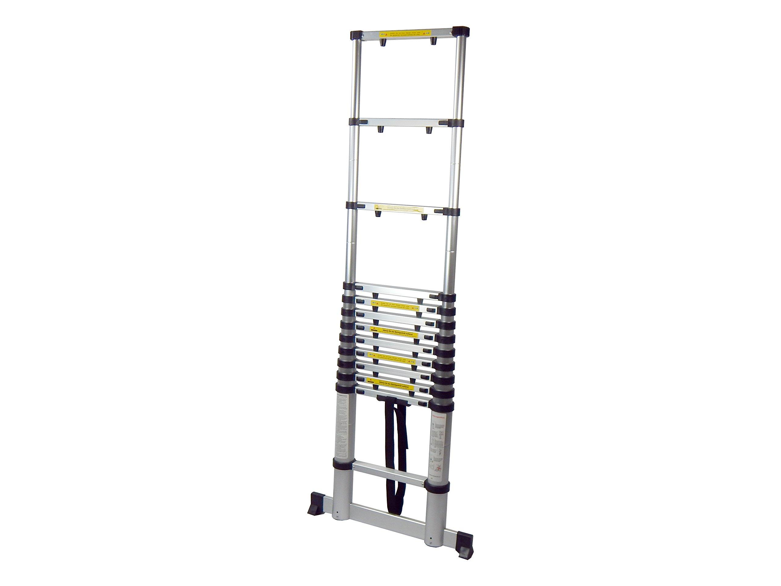 King Ladder 3,8 m Escalera telescópica con protección para los dedos & ancha Stand: Amazon.es: Bricolaje y herramientas