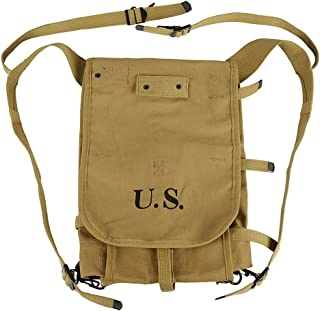Oleader WWII US Army M1928 Haversack Musette Bag Backpack WW2 with Shoulder Strap Khaki Canvas
