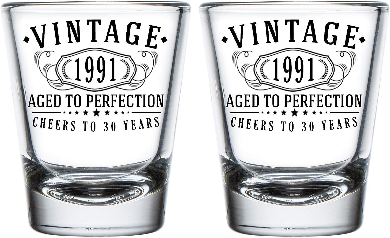 Vintage 1991 Sacramento Mall Printed 2oz - 2pk. Shot Glasses New products, world's highest quality popular! 30th Aged Birthday