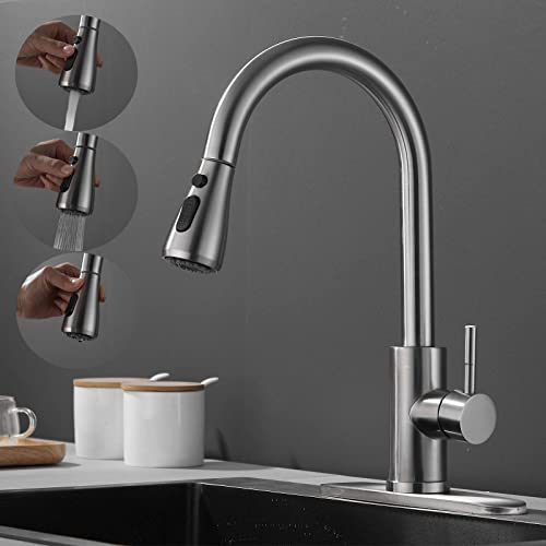 2021 Single popular Handle Pull Out Kitchen Faucet 360 Degree Swivel High Arc Brushed Nickel Sink Faucet with Pull Down Sprayer 2 Water Flow Modes Steam Spray and Pause, lowest with Hoses and Deck Plate Easy to Install online