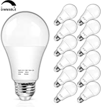 100W Equivalent Dimmable LED Bulb 1600 Lumens, Daylight White 5000K 15W A19 LED Light Bulbs, Standard E26 Medium Screw Base, CRI 85+, 25000+ Hours Lifespan, Pack of 12