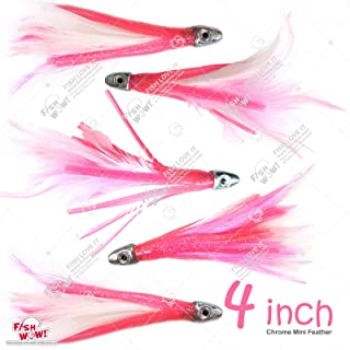 Fish WOW! 5pcs 4 Mini Feather 1/2oz Bullet Chrome Head Trolling Tuna Lure Squid Skirts - Pink White