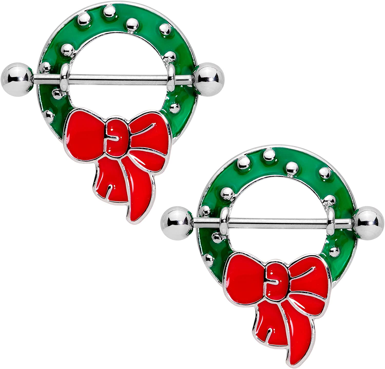 Body Candy 14G Women Nipplerings Piercing Steel 2Pc Red Bow Christmas Holiday Wreath Nipple Shield Set 9/16