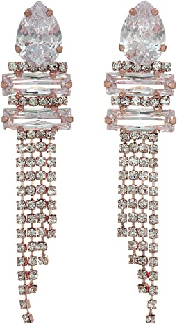 CZ/Crystal Cupchain Fringe Earrings