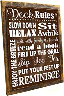 Deck Rules Rules Metal Sign Framed on Rustic Wood, Motivational Rules to Live By, Positive Thinking