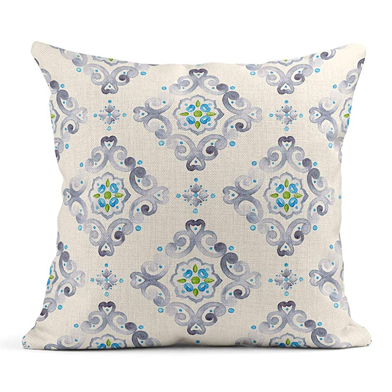 Emvency Decor Flax Throw Pillow Covers Case Watercolor Filigree Moroccan Delicate Pastel Openwork Lace Gray Blue and Green 20