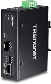 TRENDnet Hardened Industrial 100/1000 Base-T to SFP Media Converter, DIN-Rail/Wall Mount, Multi or Single Mode Fiber, Power Supply Sold Separately, TI-F11SFP