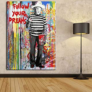 Faicai Art Banksy Graffiti Street Art Wall Art Pop Art Paintings Smoking Picasso Drawing 'Follow Your Dreams' Canvas Prints Modern Wall Decor Pictures for Home Decor Framed Ready to Hang 32