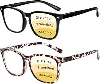 Progressive Multifocus Reading Glasses Women Men Blue Light Blocking, Anti Eye Strain/Glare/UV Filter Computer Readers