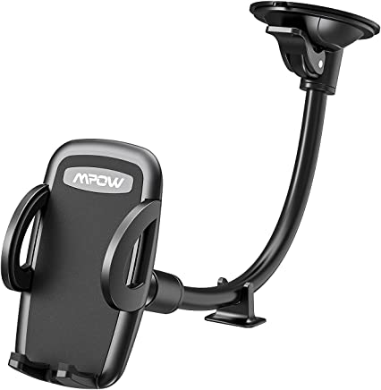 Car Phone Holder, Mpow Windscreen Car Phone Mount with Extra Dashboard Base and Long Flexible Arm Windshield Car Cradle for iPhone Xs Max Xs Xr X 8 7 6s Plus Samsung S10 S9 S8 HTC Sony LG and Others