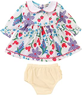 FreeLu Toddler Baby Girls Flower Print Ruffles Dress Set with Cotton Lace Briefs