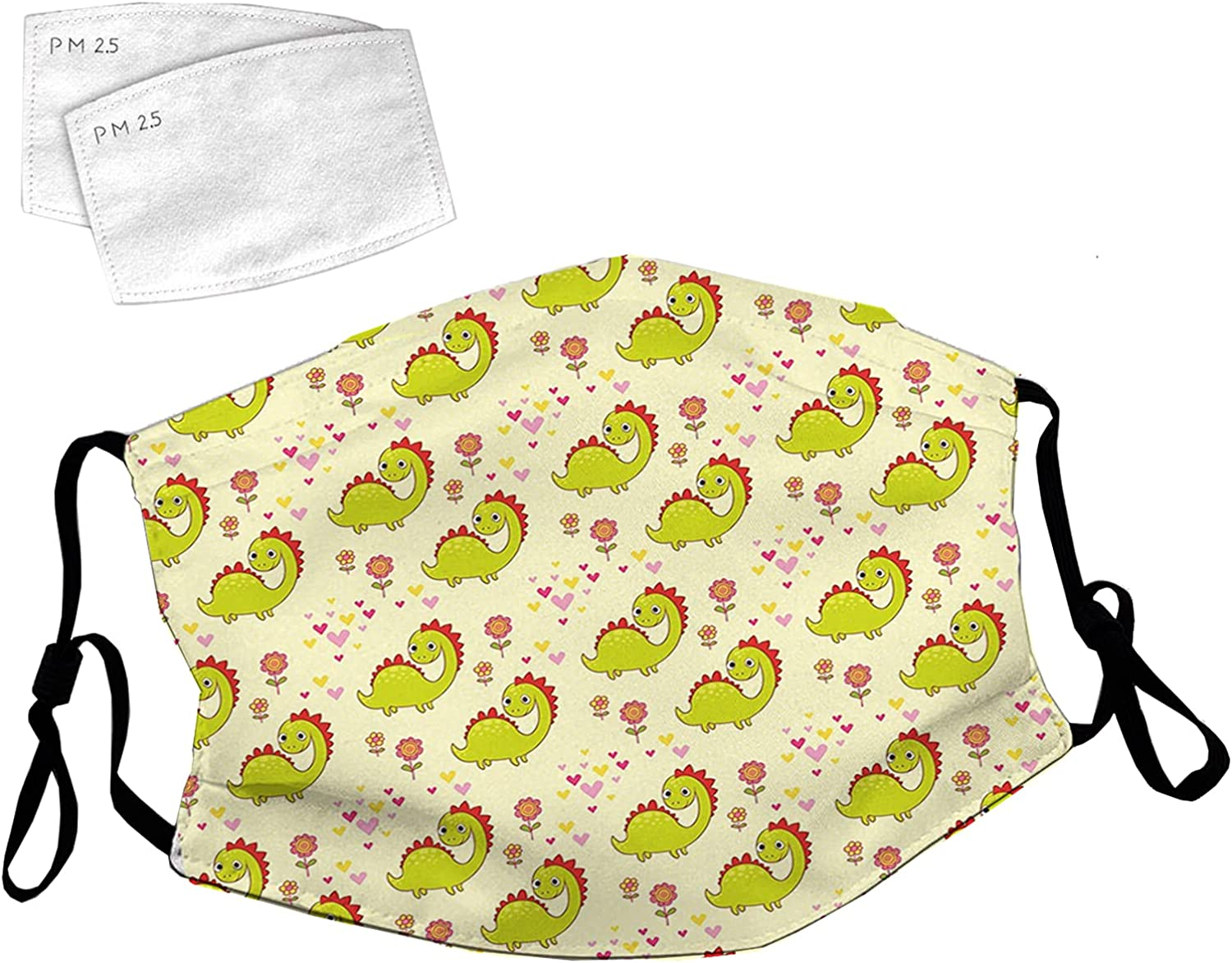 Reusable Face Mask 40% OFF Cheap Sale with Adjustable Chara Directly managed store Loops Cute Ear Dinosaur