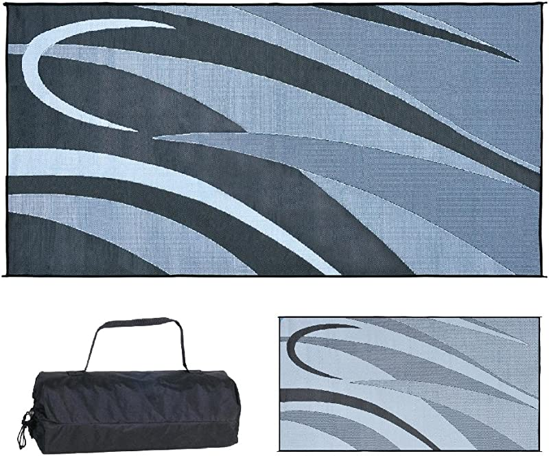 Stylish Camping GB1 Black Silver 8 Feet X 16 Feet Graphic Mat