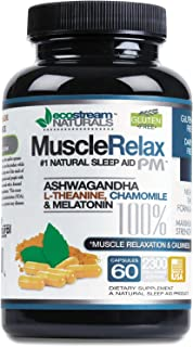 Natural Sleep Aid Muscle Relax PM by Ecostream Naturals - Ease Night Time Capsules Non Habit Forming Sleeping Pill Relief with Magnesium, Ashwaganha, Valerian, Passion Flower