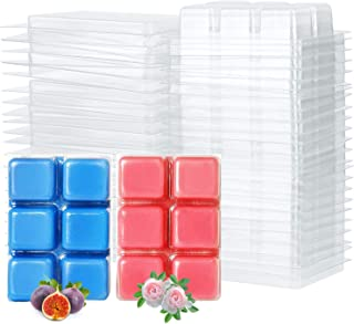 Tobeape Wax Melt Molds, 6 Cavity Clear Plastic Wax Melt Clamshells Cube Tray for Candle-Making & Soap - 100 Packs