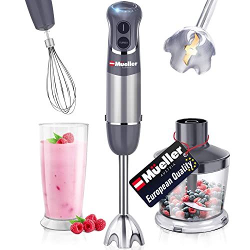 Mueller Austria Hand Blender, Smart Stick 800W, 12 Speed and Turbo Mode, 3-in-1, Titanium Steel Blades, Comfygrip Handle, with Whisk, Chopper/Grinder Bowl and Beaker/Measuring Cup