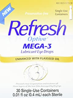 Refresh Optive Mega-3 Lubricant Eye Drops, 30 Single (Pack of 2)
