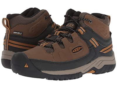 KEEN Kids Targhee Mid WP (Little Kid/Big Kid) (Dark Earth/Golden Brown) Boy