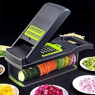 Multifonction Coupe-oignon Dicer Manuel Trancheur de Mandoline avec Récipient,Cuisine Hachoir à Légumes Râpe,Salade Food C...