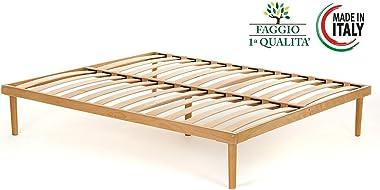 materass imemory. UE Cadre de lit avec sommier à lattes, lit double, entièrement en bois de hêtre, superbe bois, hêtre nature