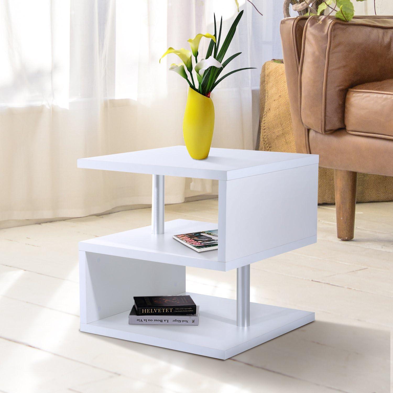 Festnight Modern Coffee Table End Side Table 3 Tier Storage Shelves Organizer Living Room Furniture White
