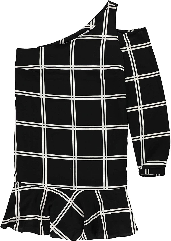 Bar Iii Womens Grid One Shoulder Dress