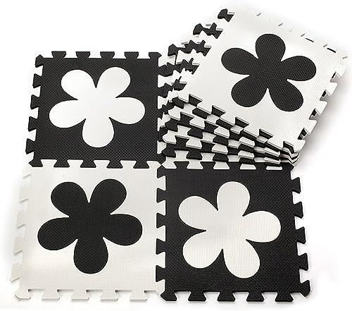 Hommesu Life Noir et blanc Couleur souple Tapis de jeu en mousse de tapis de puzzle 30x 30x 1cm en puzzle Tapis Fleurs