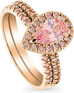 BERRICLE Rose Gold Plated Sterling Silver Halo Engagement Wedding Ring Set Made with Swarovski Zirconia Morganite Color Pear Cut 1.24 CTW