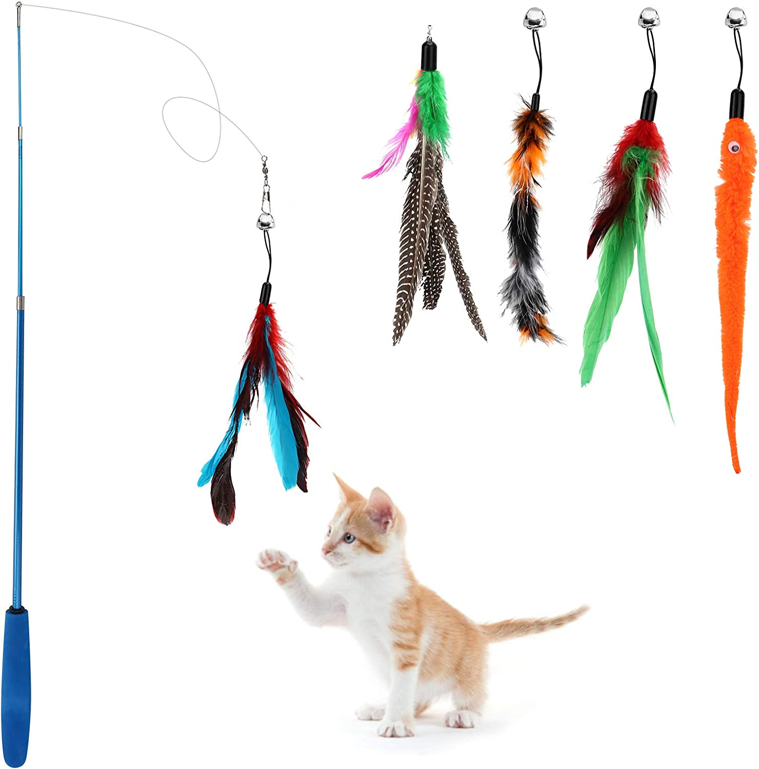 Depets Cat Feather Wand 5PCS Assorted Max 78% OFF Retractable Toy Fashionable