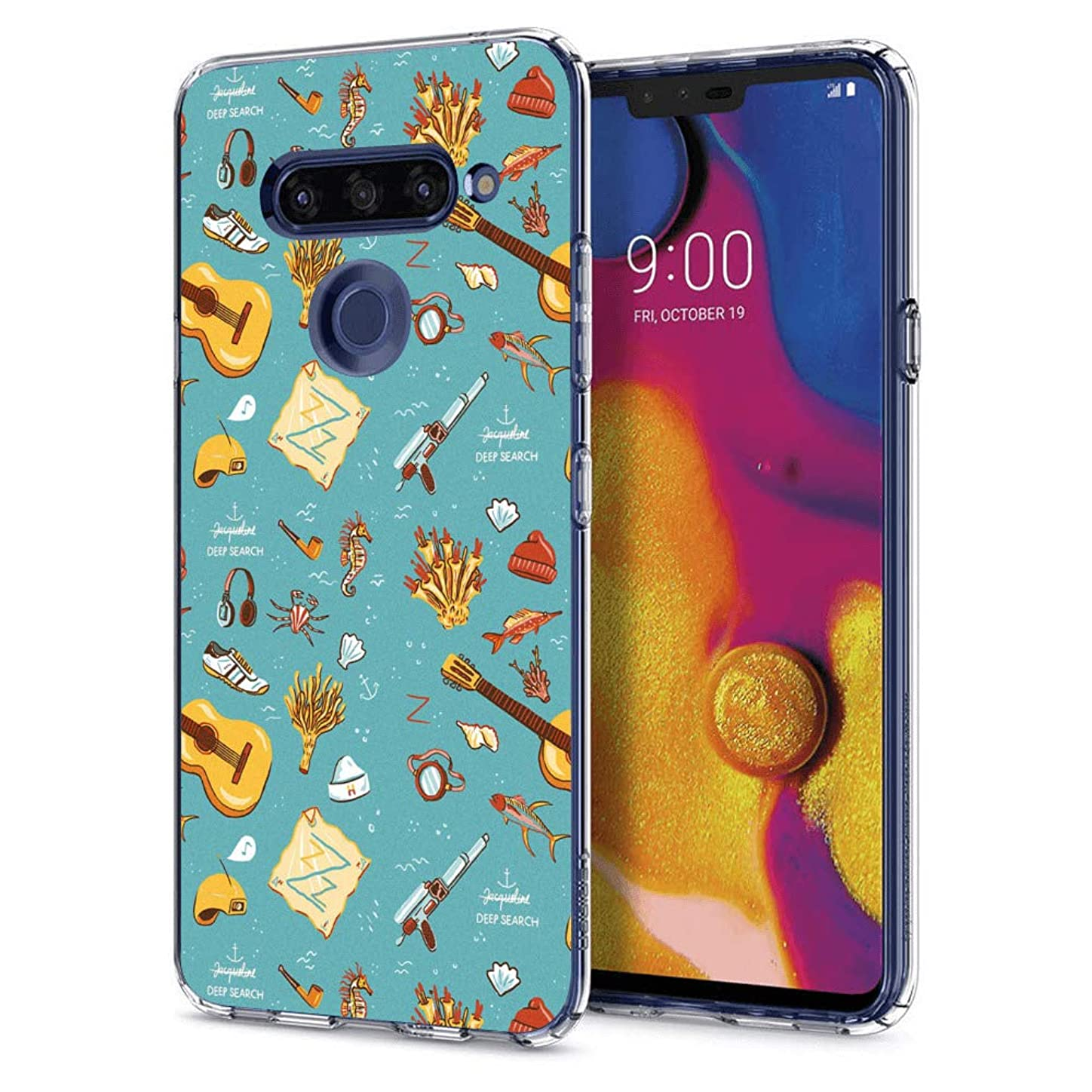 Slim Clear Guitar Ukulele Case for LG V40 ThinQ Customized Design Soft TPU and Rubber Flexible Durable Shockproof LG V40 ThinQ Protective Case-Anti-Slippery hvsgojf287950