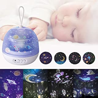 Star Projector Night Light for Kids, 360°Rotating Universe Projector Lamps, Carousel Night Lights Star projector Lamp for Bedroom Christmas Birthday Gifts for Baby Toddler Girls Boys White