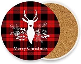Christmas Tartan Reindeer Plaid Bar Drink Coaster Mats Coffee Cup Pad Set of 4 Xmas Tree Winter Round Glass Cups Holder for Living Bedroom Kitchen Office Tabletop New Year Decor