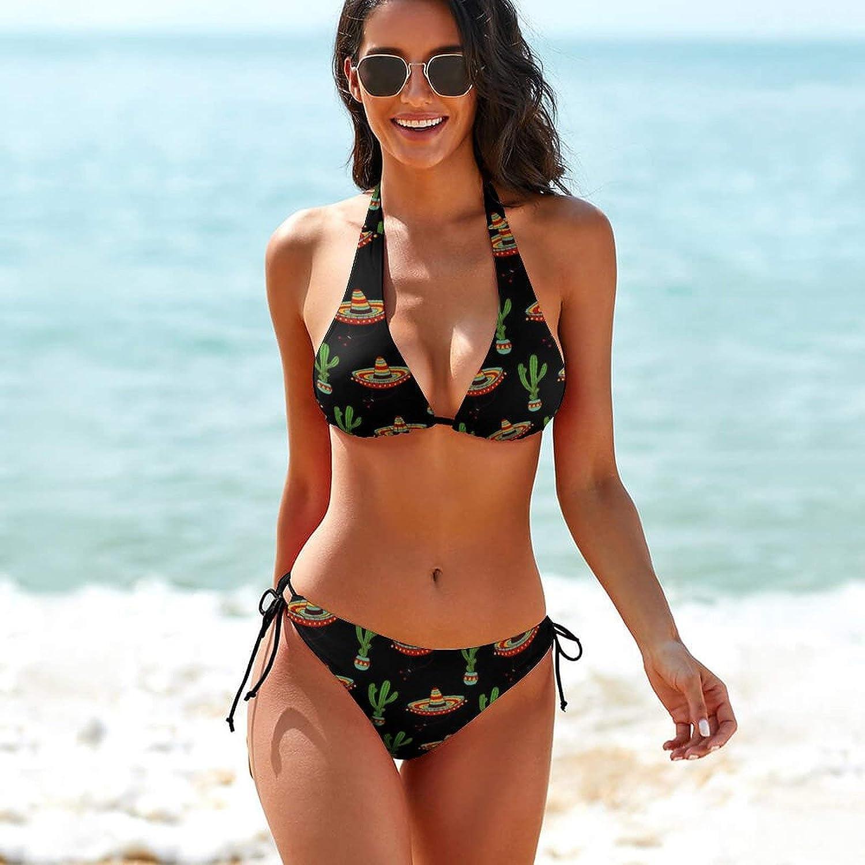 JZDACH Women Two Piece Bikini Top with Triangle Bikini Bottoms, Bikini Sets Beachwear