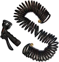 vhccirt 50ft Recoiling Hose PU Hose Heavy Duty Water Pipe Coiled Garden Hose 7-Pattern Nozzles Sprinkler Car/Pets Washer,Garden/Plants Watering,House Cleaning Save Space & Durable