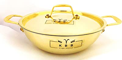 KBB Brass Platinum KADHAI with LID and Inner Kalai (TRYPLY Look) | (1NO.)