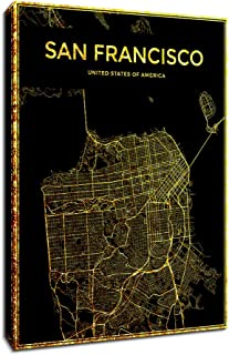 DVQ ART Framed San Francisco Poster City Map Wall Art Boston Map Pictures for Walls Golden Line Map Artwork Mural for Living Room Office Decoration 16